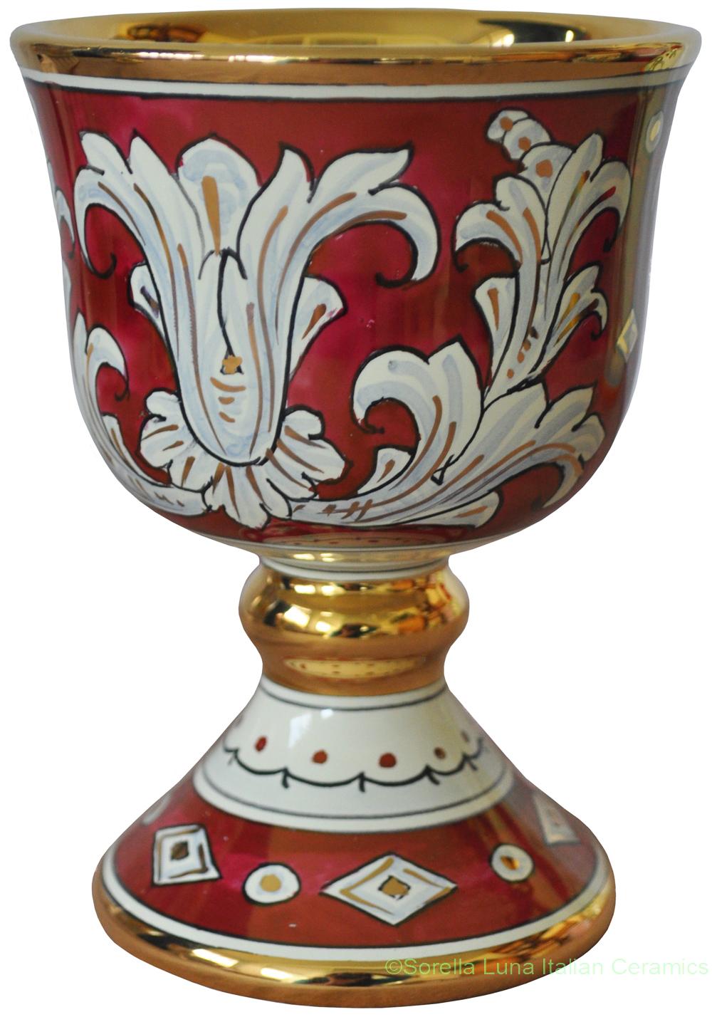 Italian Ceramic Wine Chalice Goblet