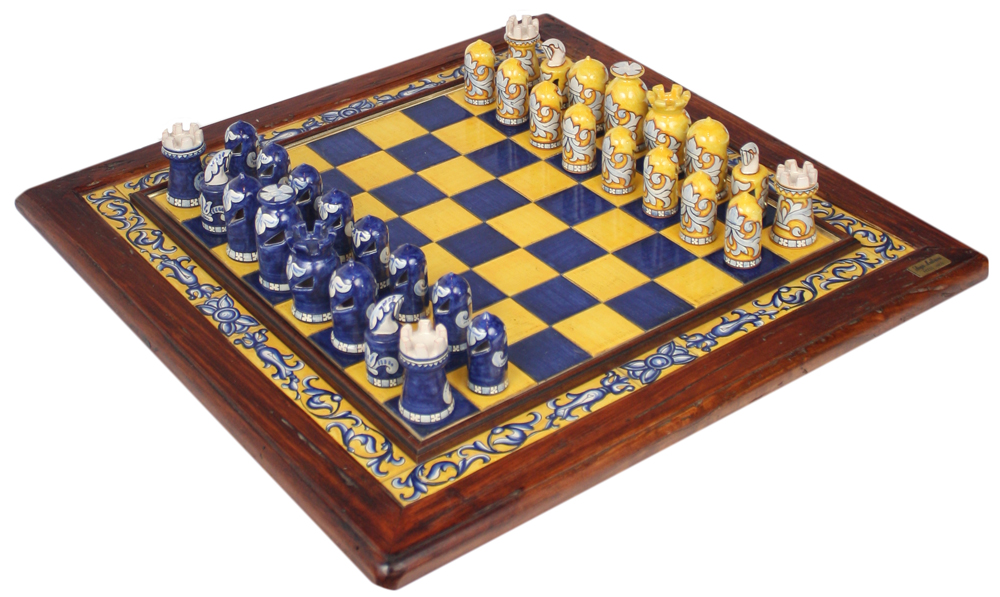 Italian majolica ceramic chess board