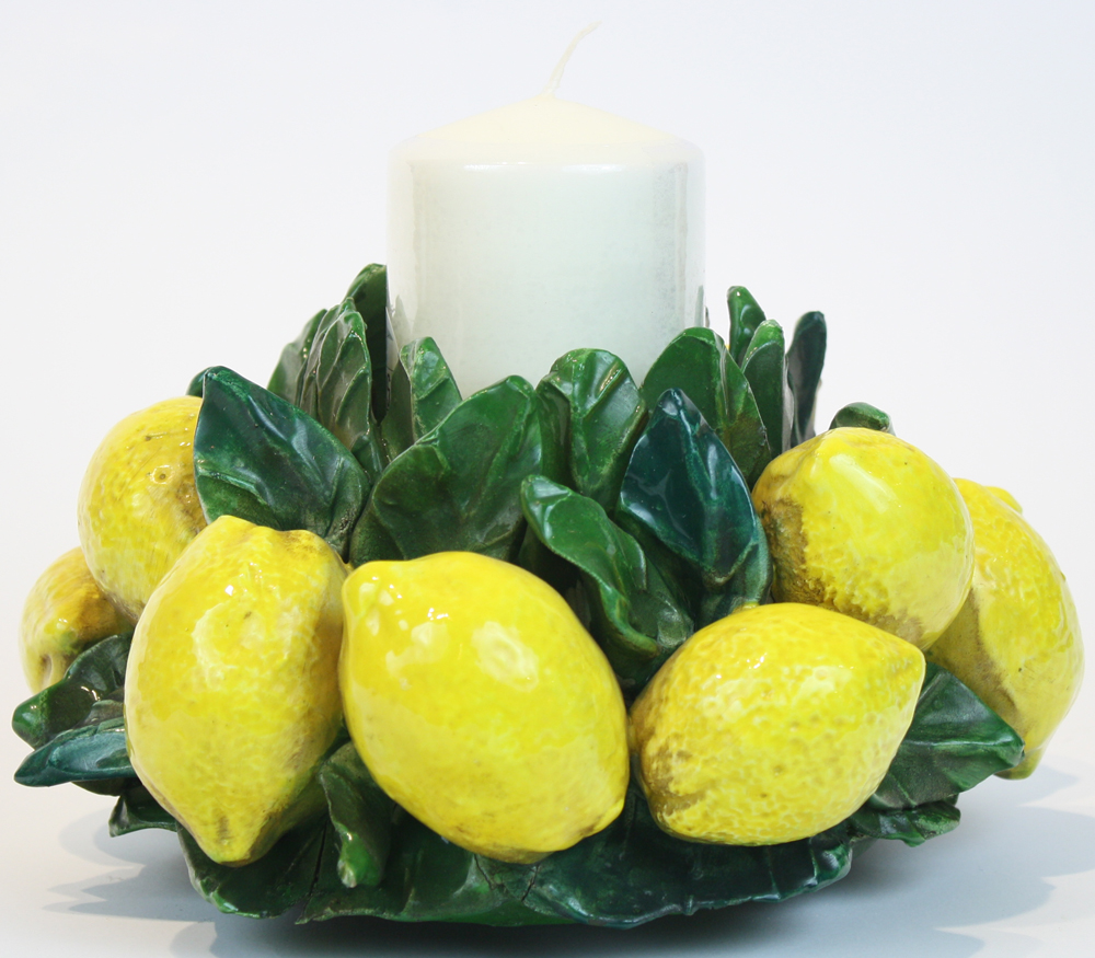 Italian Ceramic Lemon Centerpiece Candlestick