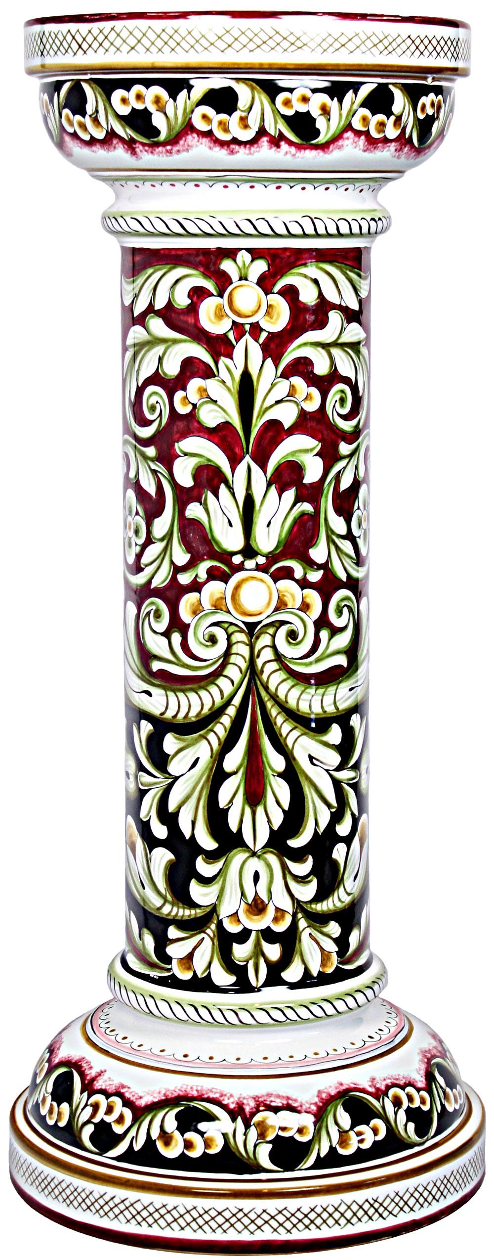 Hand Painted Ceramic Majolica Column 70cm