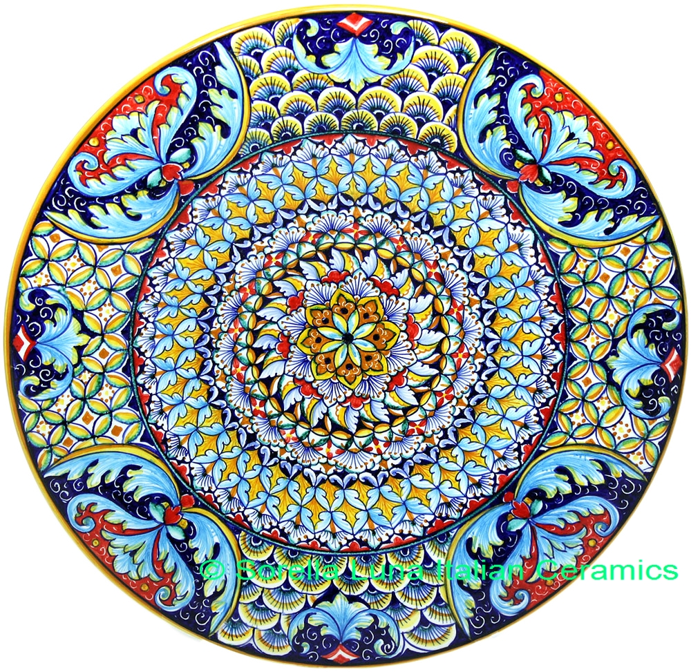 Italian Hand Painted Ceramic Majolica Plate 35cm