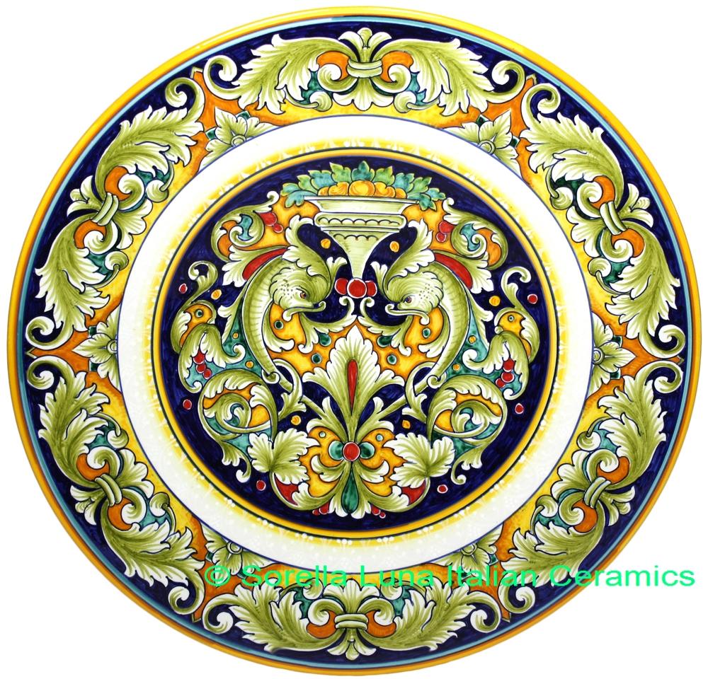 Italian Ceramic Majolica Figure Plate 42cm