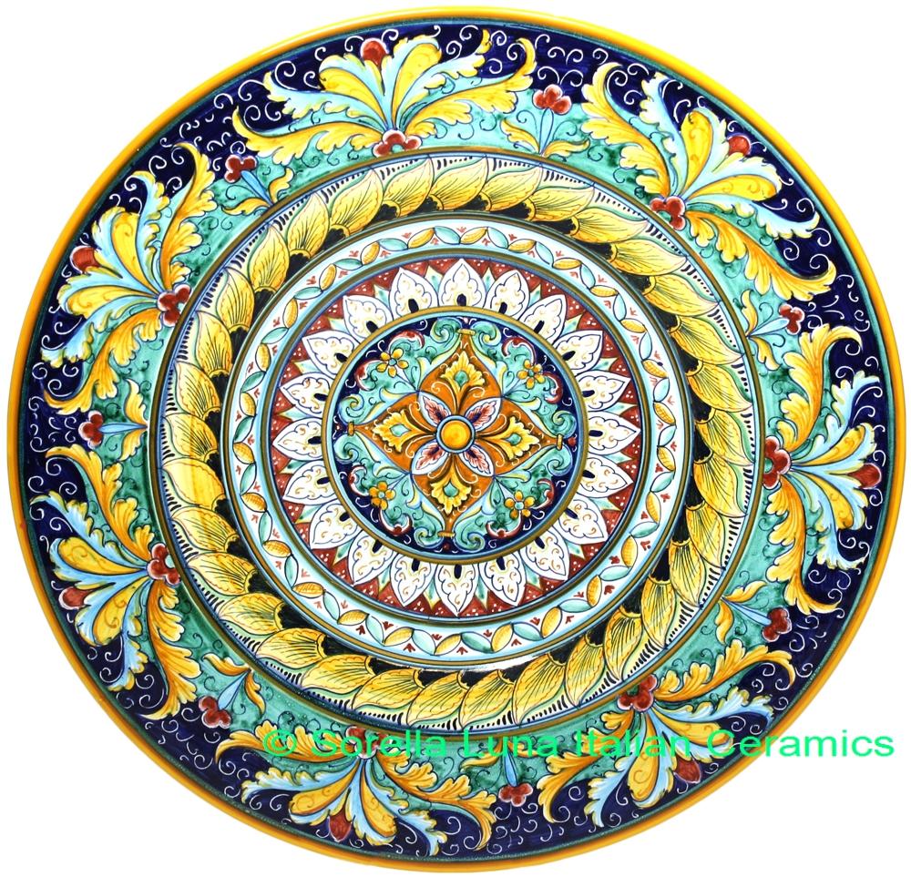 Italian Hand Painted Ceramic Majolica Plate 42cm