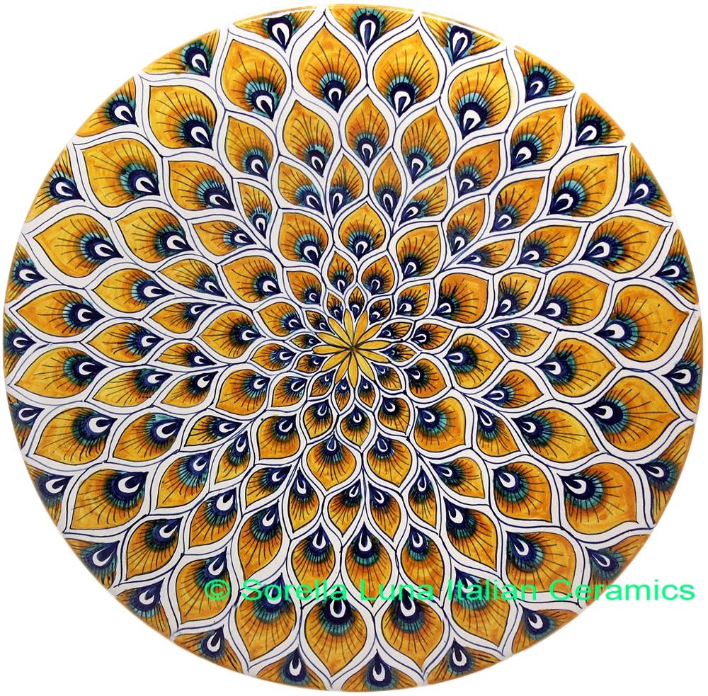 Italian Deruta Ceramic Peacock Plate 35cm