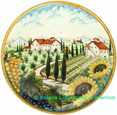 Italian Tuscany Majolica Ceramic Plate 42cm