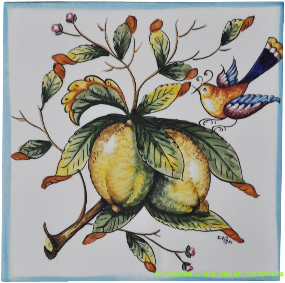 Hand painted italian ceramic tiles tile amalfi lemon with bird dailygadgetfo Images