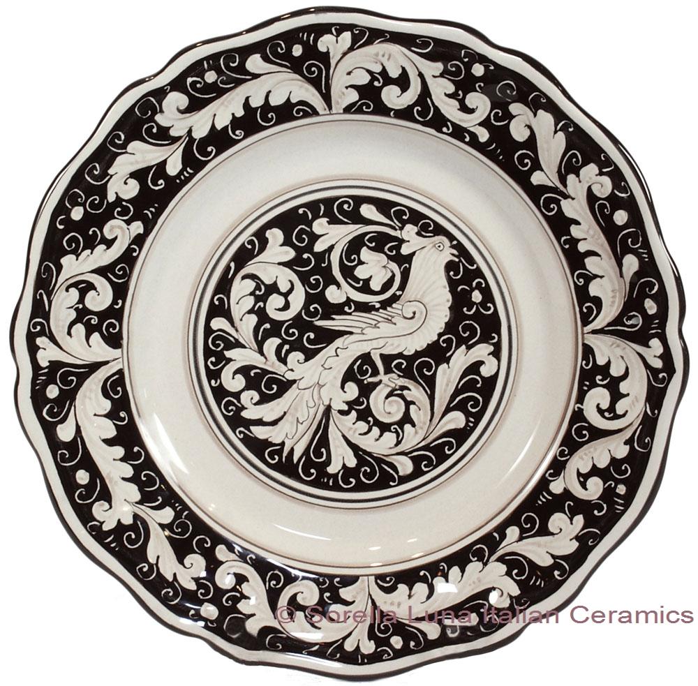 Deruta Italian Dinner Plate - Fondo Nero  sc 1 st  Sorella Luna & Italian Ceramic Dinner Plate