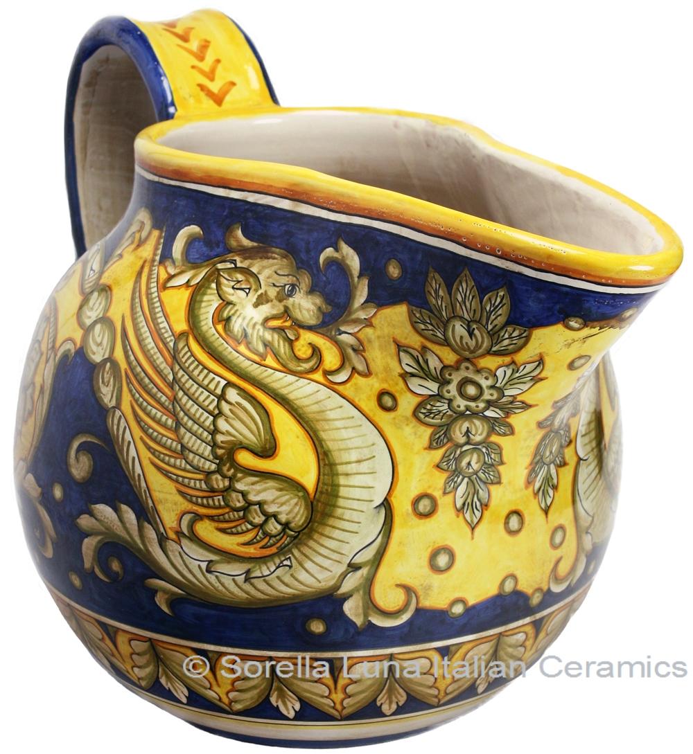 Italian Ceramic Majolica Pitcher