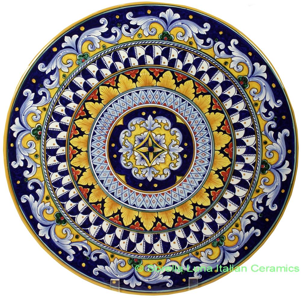 Ceramic Majolica Plate 42cm. View detailed images (1)  sc 1 st  Sorella Luna & Italian Hand Painted Ceramic Majolica Plate | 42cm