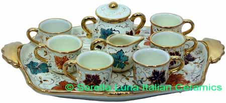 Ceramic Majolica 9 Piece Coffee Service Gold Leaf Autumn