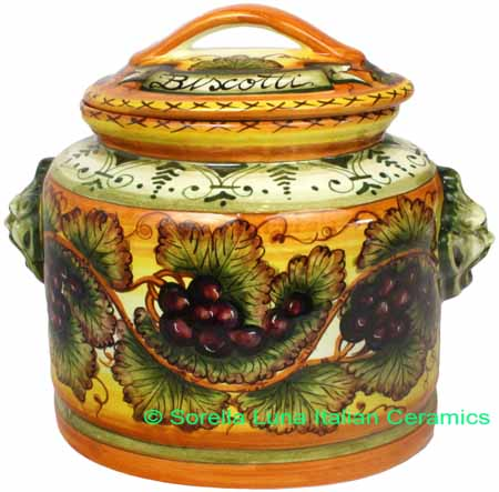 Biscotti Cookie Jar - Tuscan Grapes 27cm