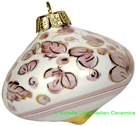 Ceramic Majolica Christmas Ornament Arabesco Pink