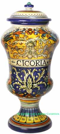 Ceramic Majolica Cicoria Jar Blue Yellow Spring 40cm