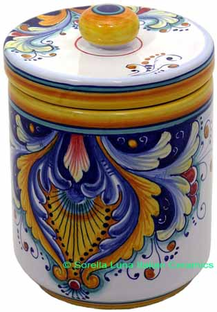 Ceramic Majolica Covered Kitchen Jar 193 19cm