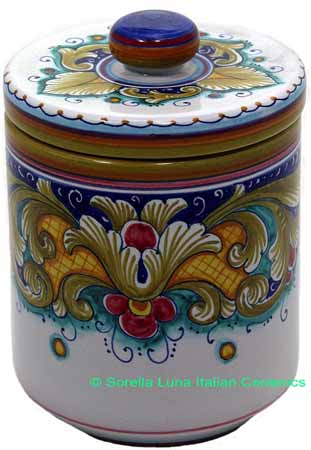 Ceramic Majolica Covered Kitchen Jar DR 19cm