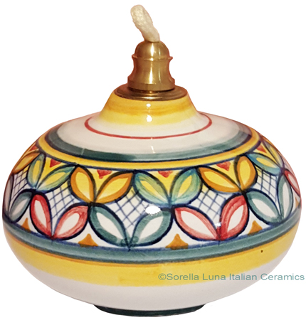 Ceramic Majolica Oil Lamp 1206 11 Red Green Petals
