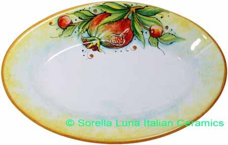Ceramic Majolica Oval Plate Pomegranate 1070 24cm