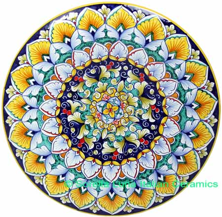 Ceramic Majolica Plate FDL Green Blue Yellow 739 25cm