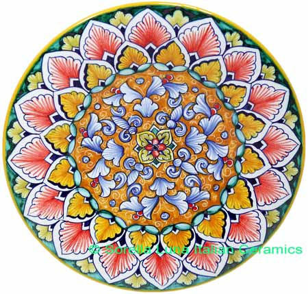 Ceramic Majolica Plate FDL Orange Light Blue 739 20cm