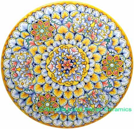 Ceramic Majolica Plate G03 Flower Yellow Green Red 42cm