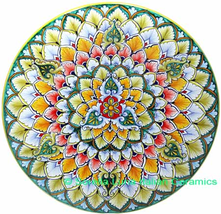 Ceramic Majolica Plate G03 Green Red Orange 739 35cm