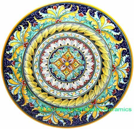 Ceramic Majolica Plate G04 Acanthus Yellow Green 42cm