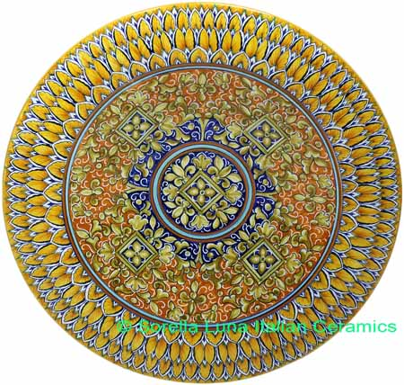 Ceramic Majolica Plate G04 Brown Orange Blue 739 35cm