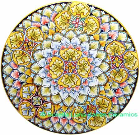 Ceramic Majolica Plate G05 Star Yellow Light Blue 42cm