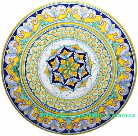 Ceramic Majolica Plate G06 Acanthus Yellow Green 63cm