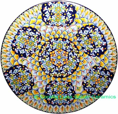 Ceramic Majolica Plate G06 G07 FDL Blue Yellow 63cm