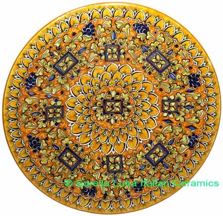 Ceramic Majolica Plate G09 Rectangles Orange Blue 42cm