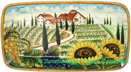 Ceramic Majolica Plate HZ Tuscany Grape Country 4424