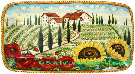 Ceramic Majolica Plate HZ Tuscany Poppy Country 4424