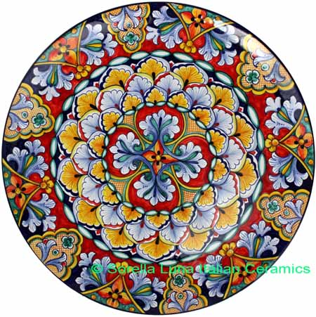 Ceramic Majolica Plate Jubilant Red Black 739 35cm