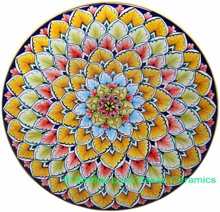 Ceramic Majolica Plate PCK Orange Light Blue 739 35cm