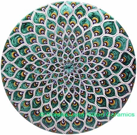 Ceramic Majolica Plate Peacock Green MRN 42cm
