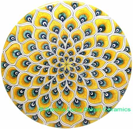 Ceramic Majolica Plate Peacock Yellow MRN 30cm
