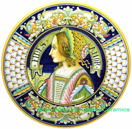 Ceramic Majolica Plate Portrait Female Penne FIDES 42cm
