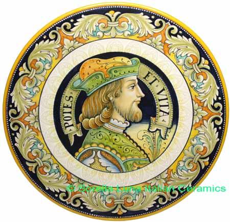 Ceramic Majolica Plate Portrait Male BW GRN POTES 42cm