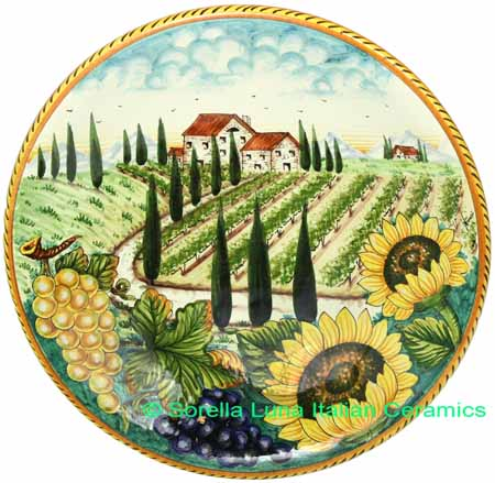 Ceramic Majolica Plate Tuscany Grape Country 35cm