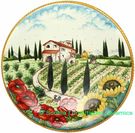 Ceramic Majolica Plate Tuscany Poppy Country 42cm