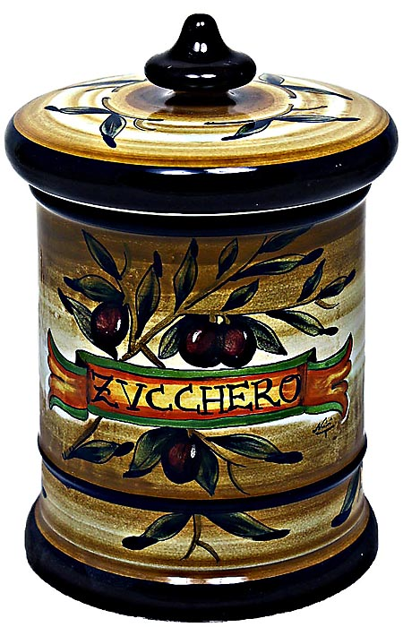 Ceramic Majolica Sugar Jar Tuscan Brown Olive 20cm