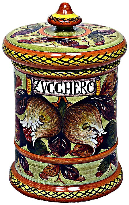 Ceramic Majolica Sugar Jar Tuscan Pomegranate 20cm