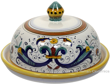 Ceramic Maiolica Covered Butter Dish Platter Ricco Deruta