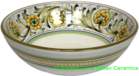 Ceramic Green Peacock Bowl 20cm
