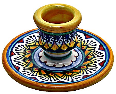 Ceramic Candlestick Vario Yellow Red 8cm