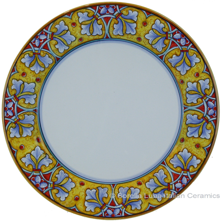 Deruta Italian Charger Plate - FDL Yellow/Soft Blue