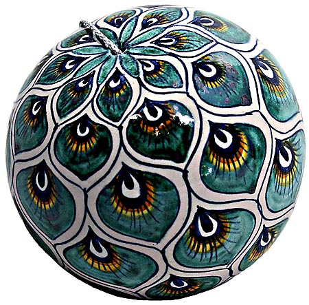 Ceramic Majolica Christmas Ornament Peacock Green 9cm