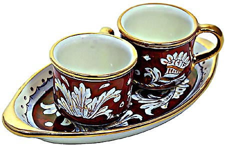 Ceramic Majolica Coffee Cup Service Red Gold Leaf Oval