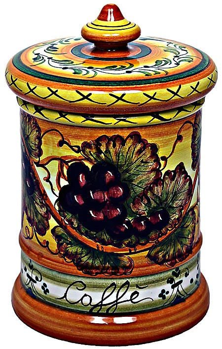 Ceramic Majolica Coffee Jar Tuscan Grapes 20cm